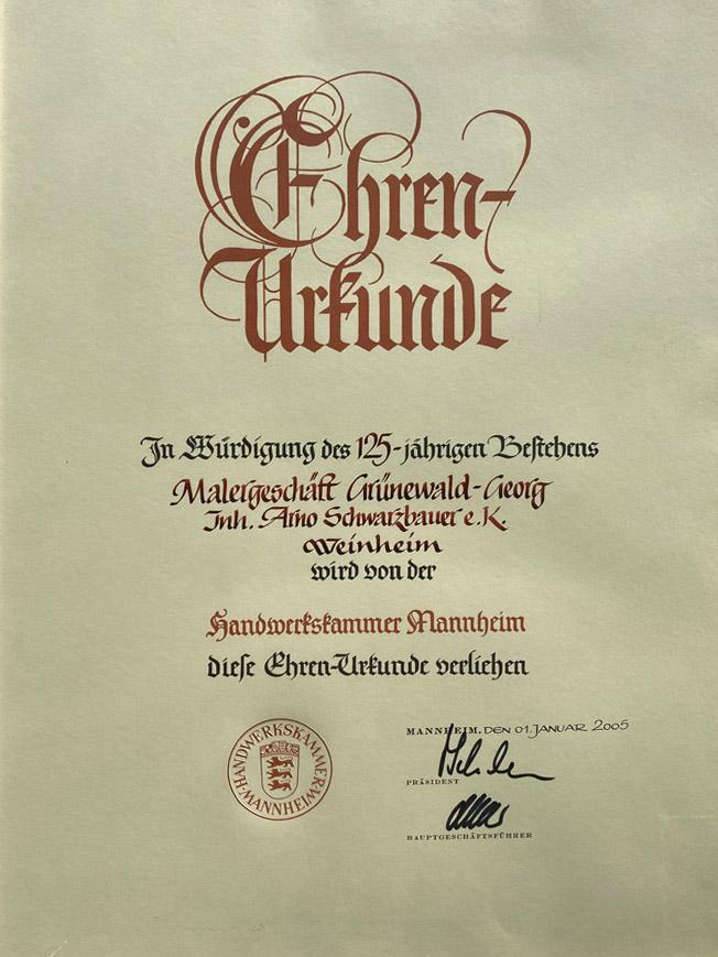 125 Jahre Jubiläum Ehrenurkunde