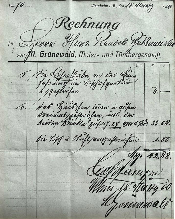 Alte handgeschriebene Rechnung