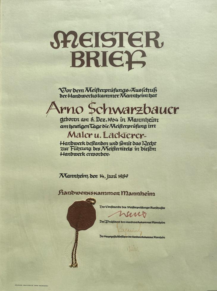 Meisterbrief Arno Schwarzbauer