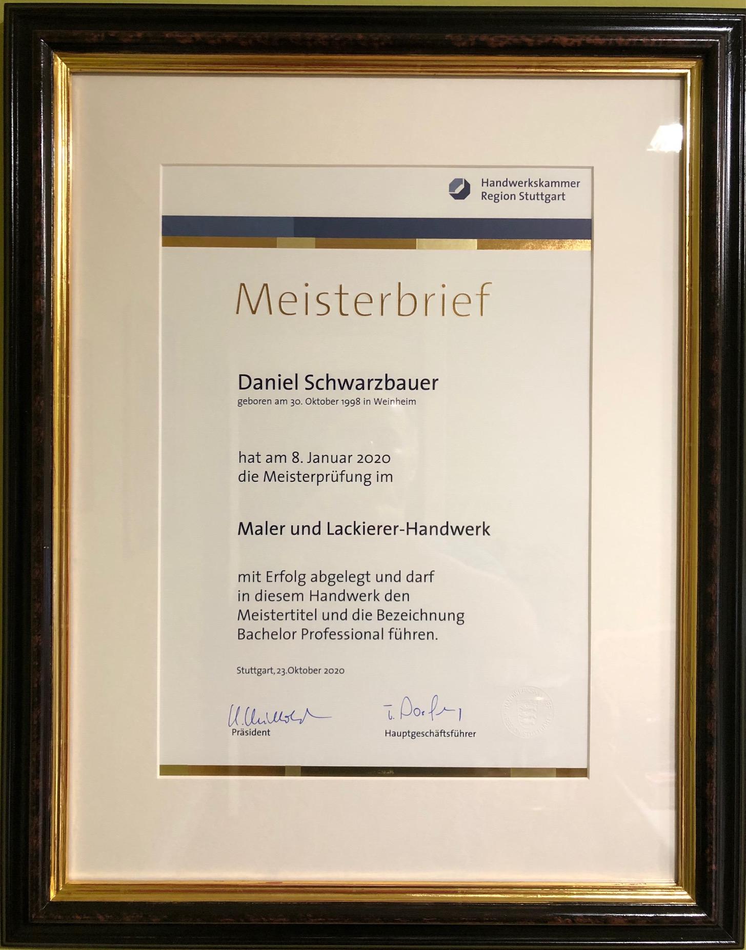Meisterbrief Daniel Schwarzbauer